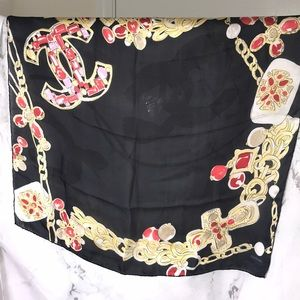 CHANEL Accessories - Chanel cc black sheer scarf wrap gold red chain